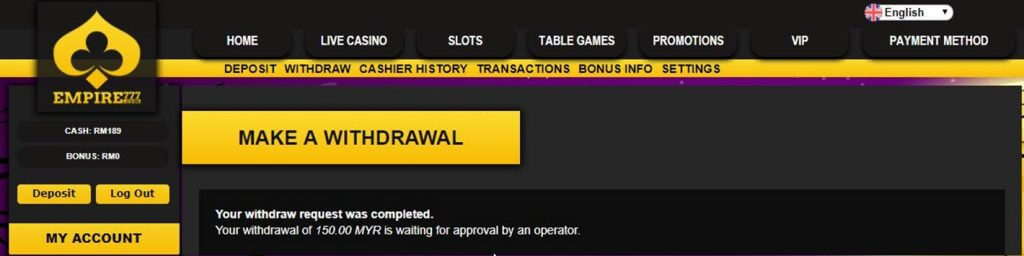 withdrawal confirmation empire777 casino