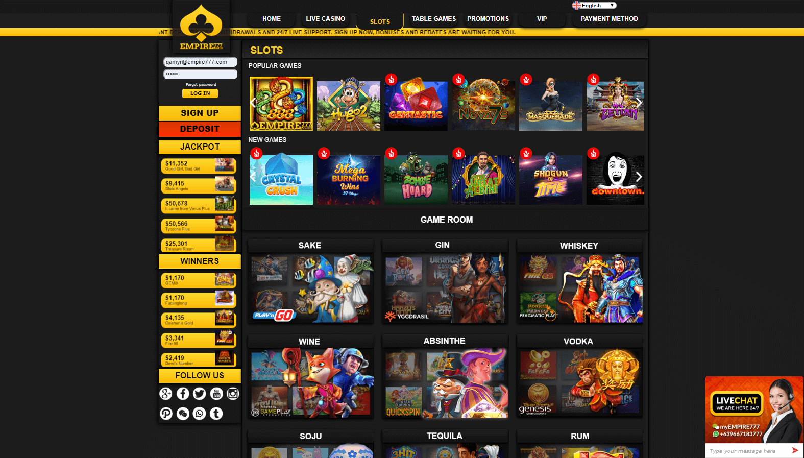 EMPIRE777 Casino's many slot games