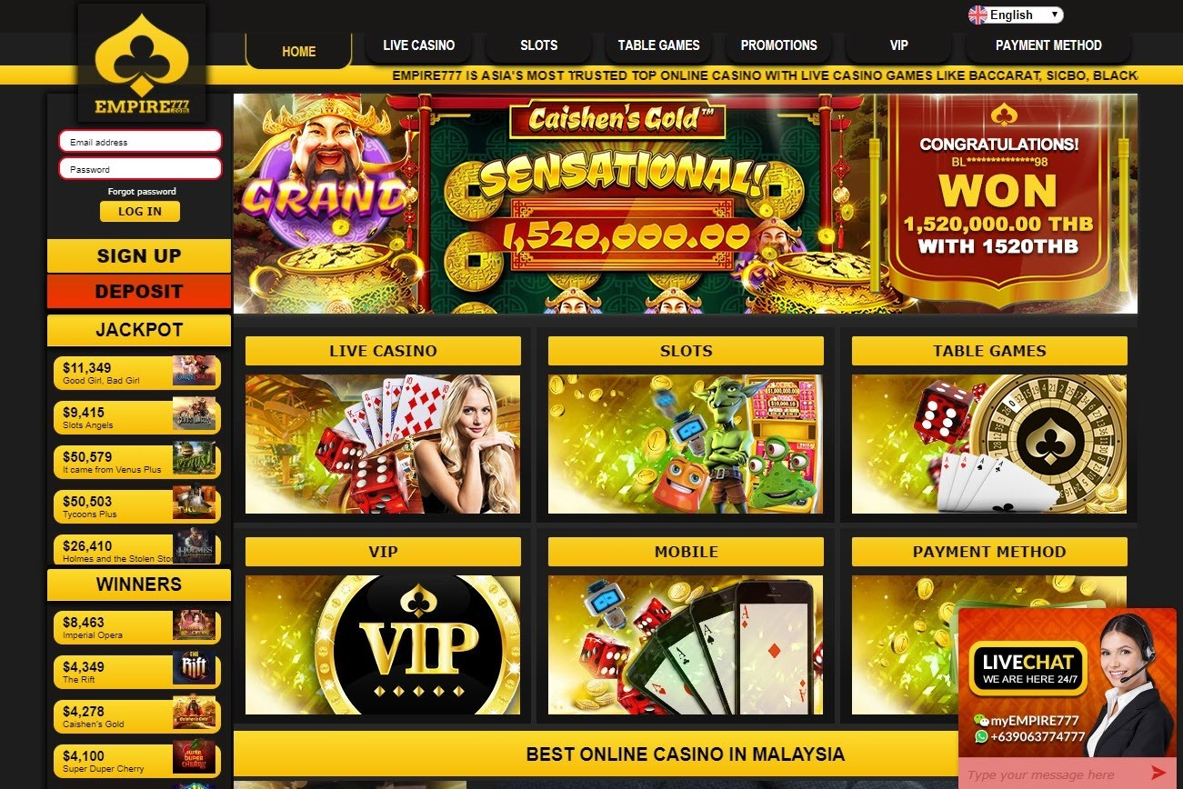 Empire777 is an online casino popular amongst Malaysians