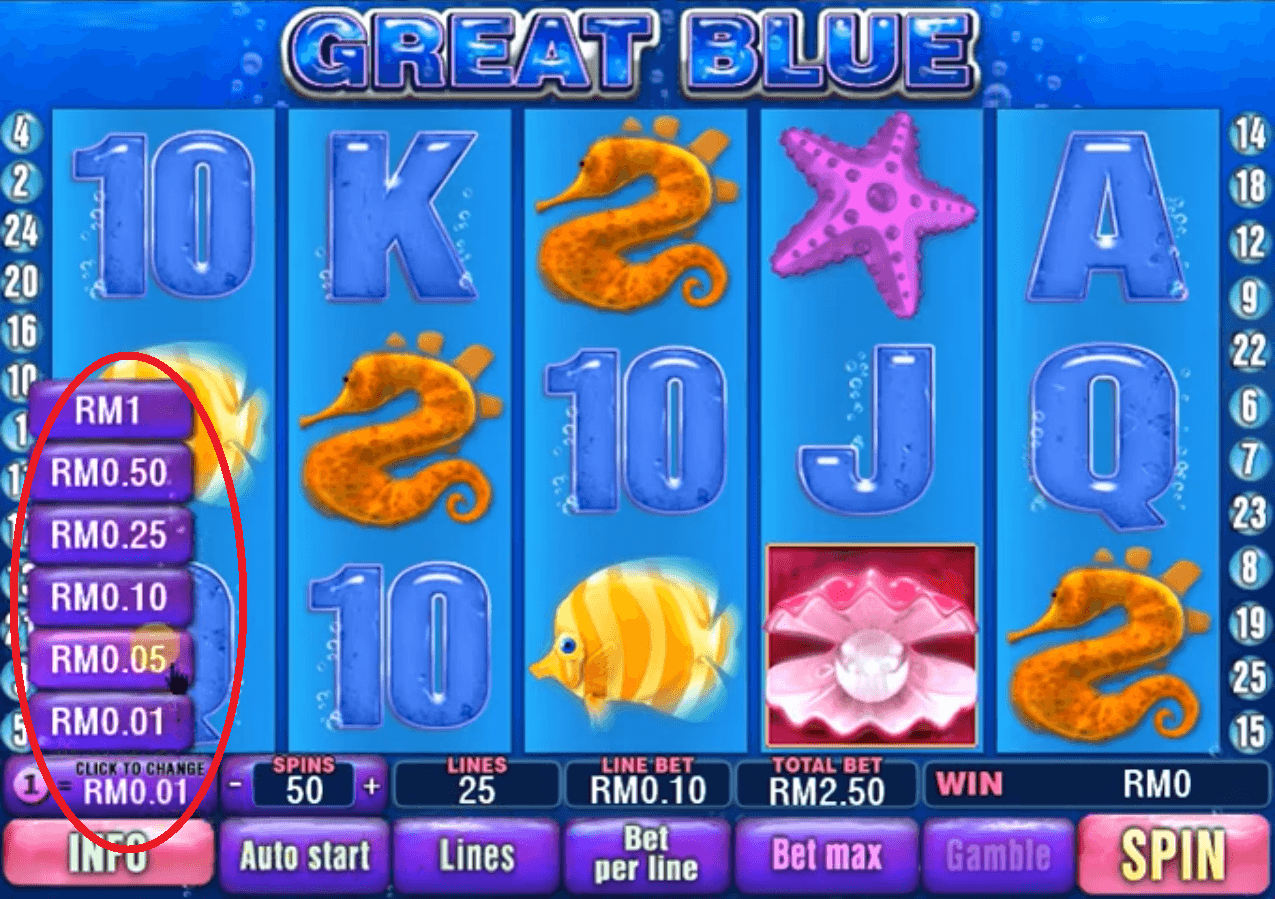 Bet MYR to play Great Blue slot game