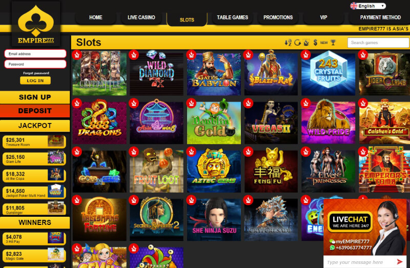 EMPIRE777 Casino has a lot of online casino slot games