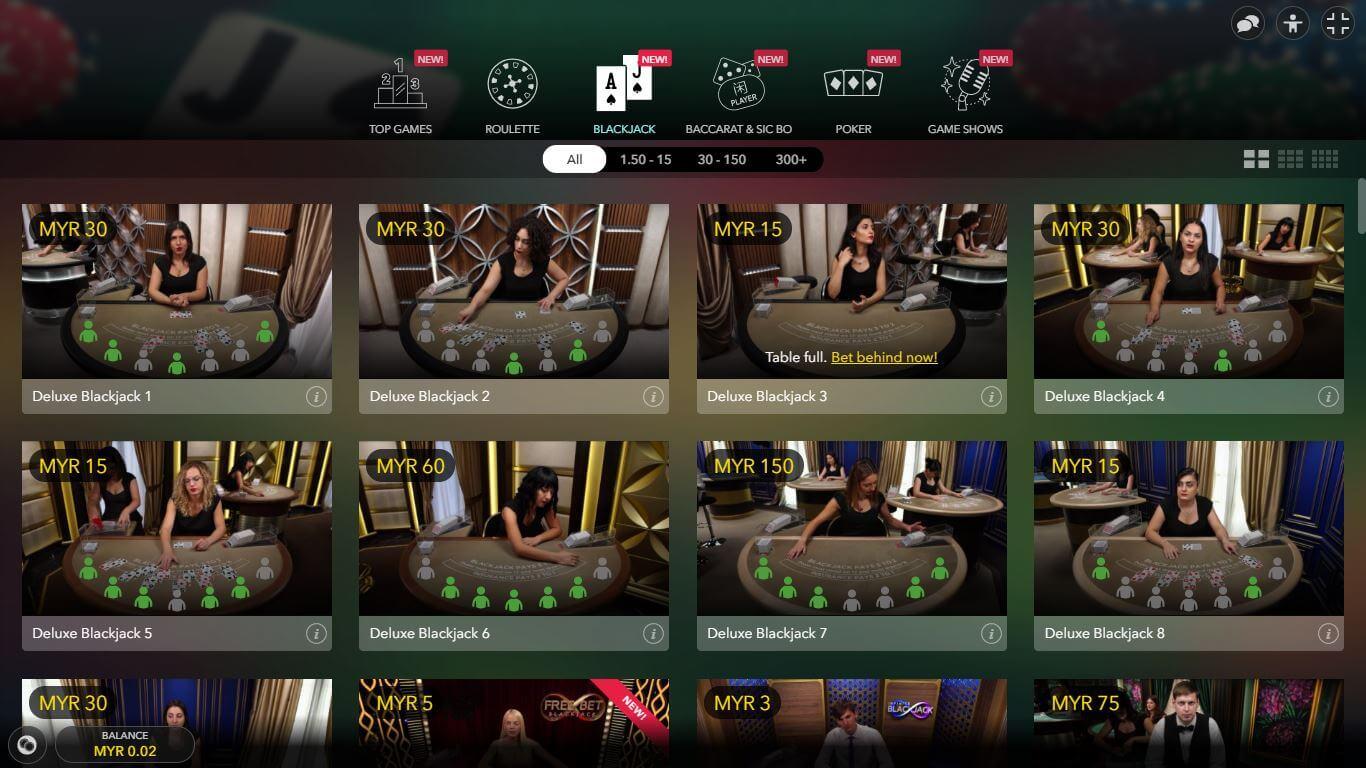 Live Casino Blackjack Games Evolution Gaming in EMPIRE777 Casino