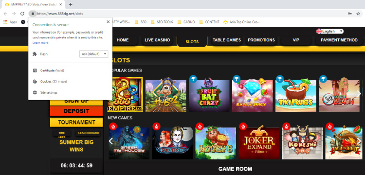 EMPIRE777 online casino is secured