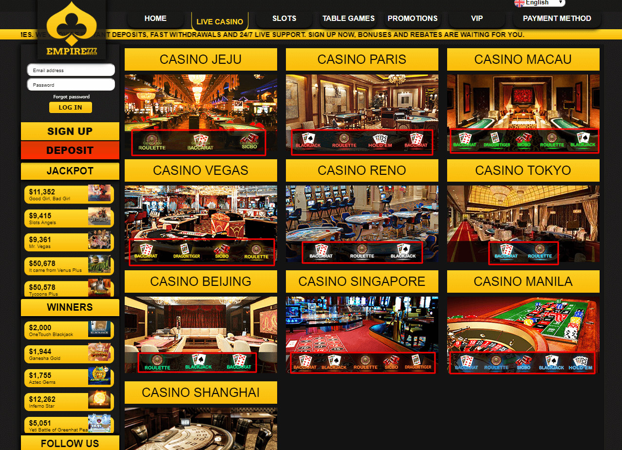 live casino game room empire777